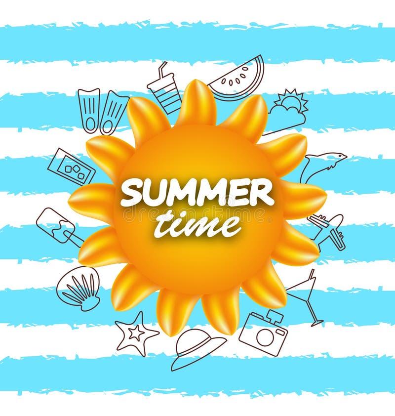 Fahne für Sommerzeit Ferien-Hintergrund mit Handzeichnungs-Elementen vektor abbildung