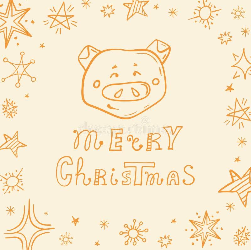 Fahne im Schwein und in den Aufschrift frohen Weihnachten Sehen Sie ?hnliche Abbildungen in meinem Portefeuille! stock abbildung