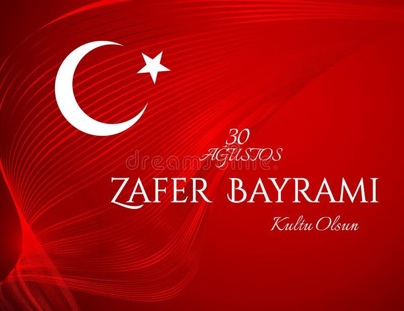 Fahne ist der Nationalfeiertag von der Türkei am 30. August Zafer Bayrami unter gewellten gebogenen roten Bandlinien türkisches F lizenzfreie abbildung