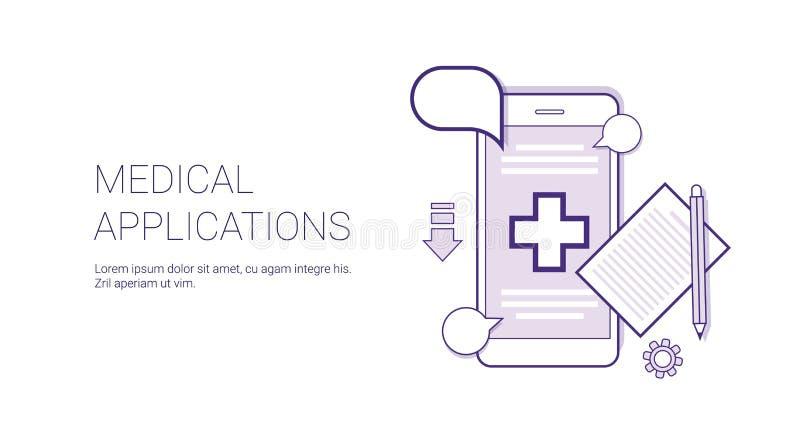 Fahne medizinische Anwendungs-verdünnen bewegliche Doktor-Consultation Technology Concept mit Kopien-Raum Linie lizenzfreie abbildung