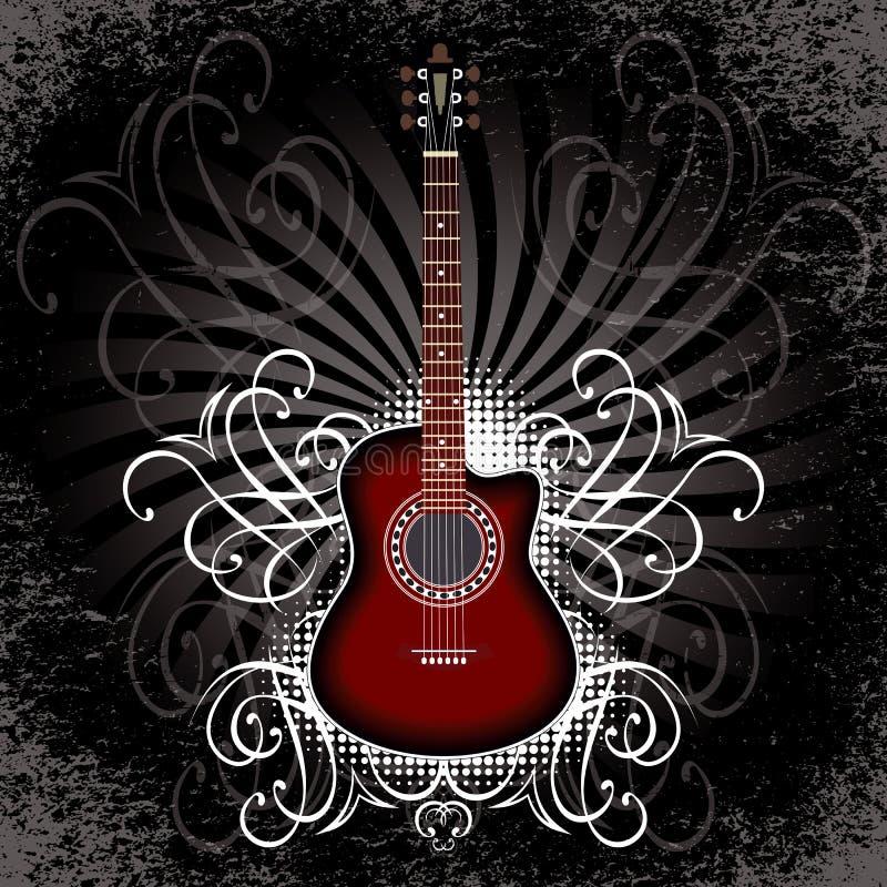 Fahne mit Akustikgitarre auf schwarzem Hintergrund lizenzfreie abbildung