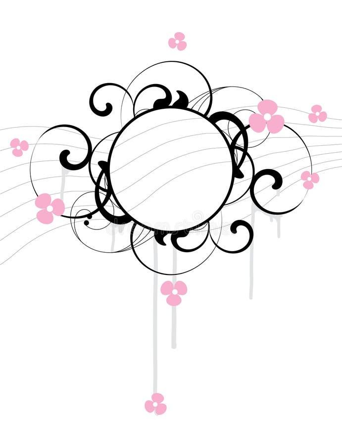 Fahne mit Blumen und Auslegungelementen vektor abbildung