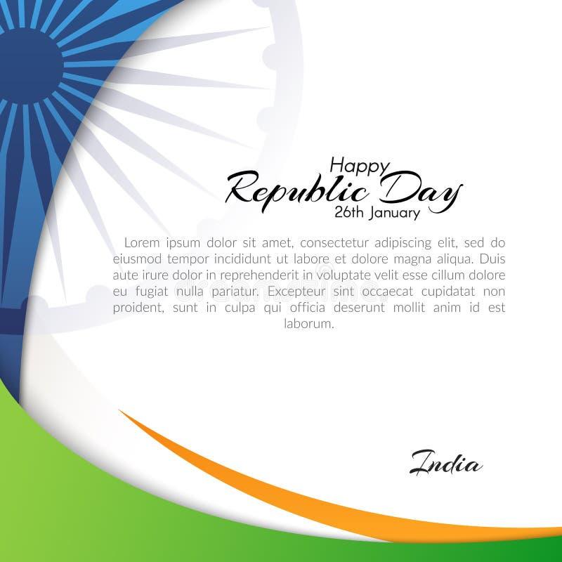 Fahne mit dem Text des Tages der Republik in Indien extrahieren am 26. Januar Hintergrund mit Ausflussrohren der Staatsflaggefarb lizenzfreie abbildung