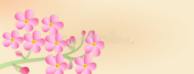 Fahne mit einer Niederlassung von Kirschblüten mit Papierschnitt Papier AR lizenzfreie abbildung