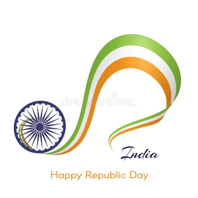 Fahne mit gewelltem Band von Farben der Staatsflagge Indien-Textes des glücklichen kreativen Elements des Tages der Republik A fü lizenzfreie abbildung