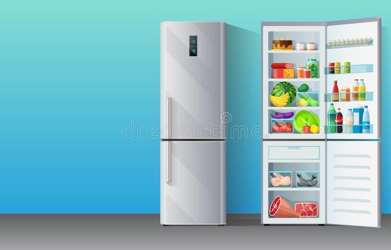 Fahne mit modernem grauem Chrom-überzogenem Kühlschrankgefrierschrank schloss und öffnete sich mit bunten Nahrungszufuhren nach i stock abbildung