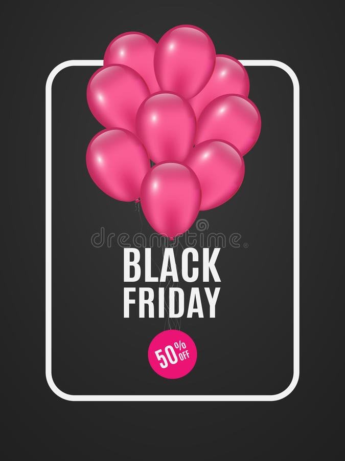 Fahne mit rosa Ballonen für Verkauf Black Friday Dunkler Hintergrund Blumenstrauß von Ballonen Runder Aufkleber mit einem Rabatt  lizenzfreie abbildung