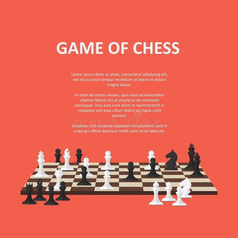 Fahne mit Schachfiguren auf einem Schachbrett lizenzfreie abbildung