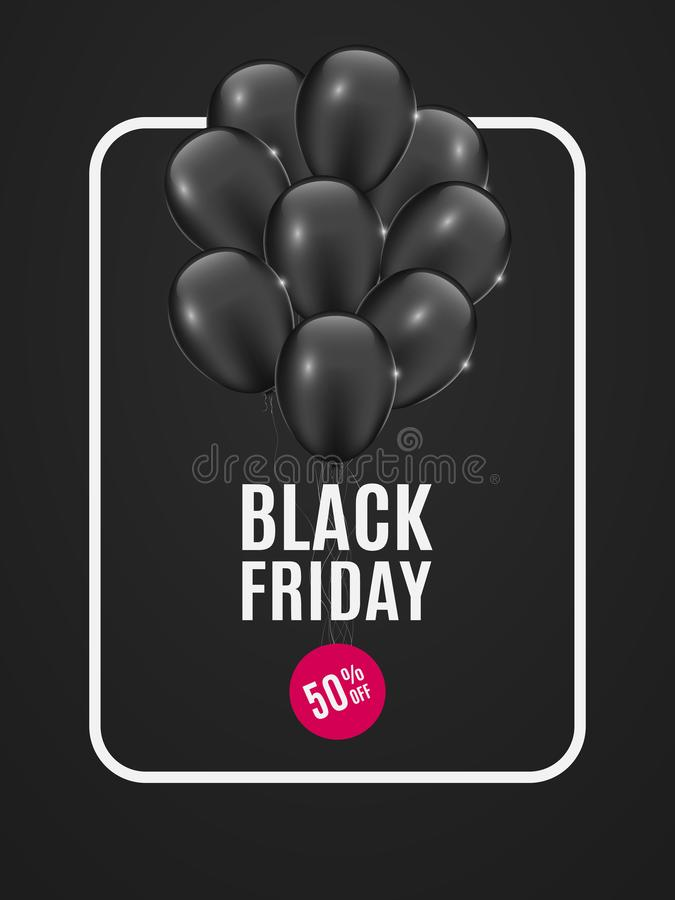 Fahne mit schwarzen Ballonen für Verkaufsschwarzes Freitag Dunkler Hintergrund Blumenstrauß von Ballonen Runder Aufkleber mit ein lizenzfreie abbildung
