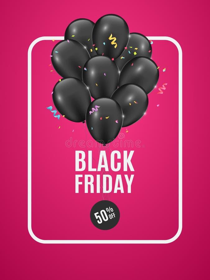 Fahne mit schwarzen Ballonen für Verkaufsschwarzes Freitag Mehrfarbige festliche Konfettis Rosa Hintergrund Blumenstrauß von Ball stock abbildung