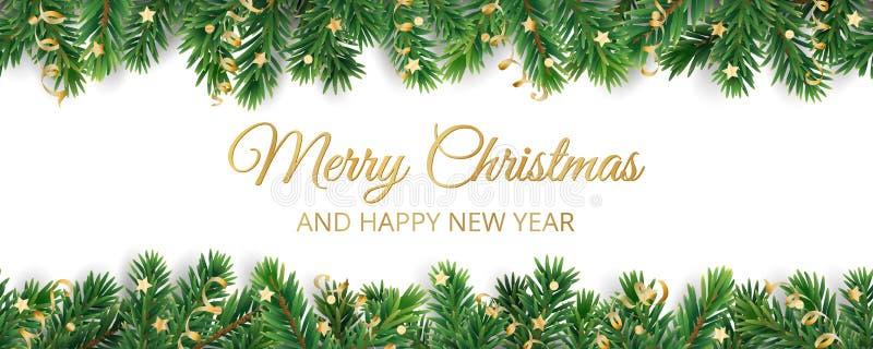 Fahne mit Text der frohen Weihnachten Weihnachtsbaumrahmen, Girlande mit Verzierungen stock abbildung