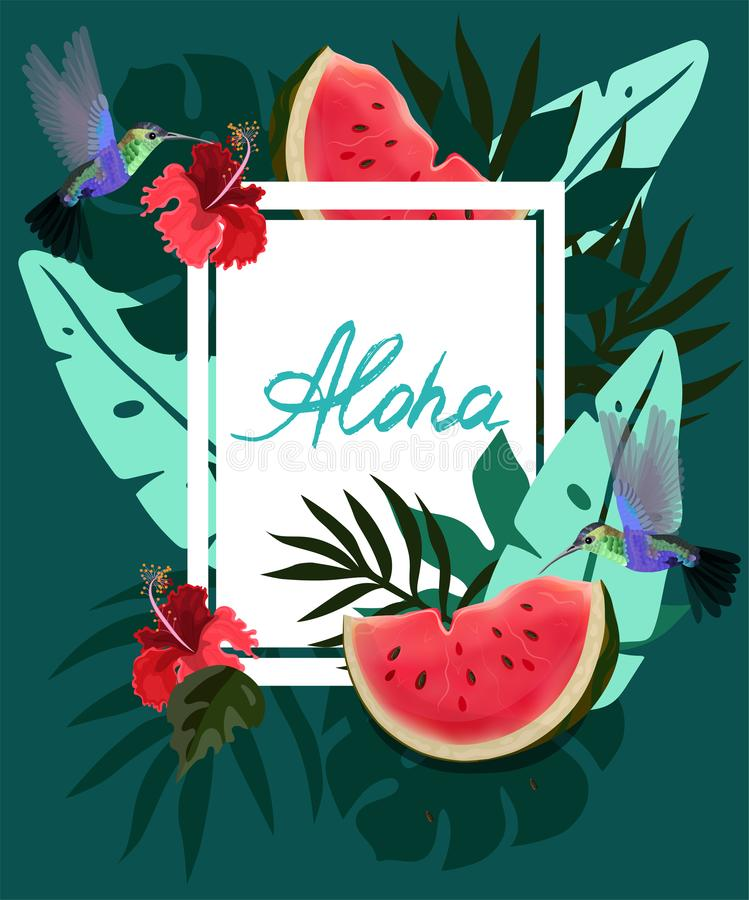 Fahne mit tropischen Blumen, Palmblätter, Kolibris, monstera, Hibiscus, Wassermelone, Dschungel verlässt Zusammensetzung Sommerve vektor abbildung