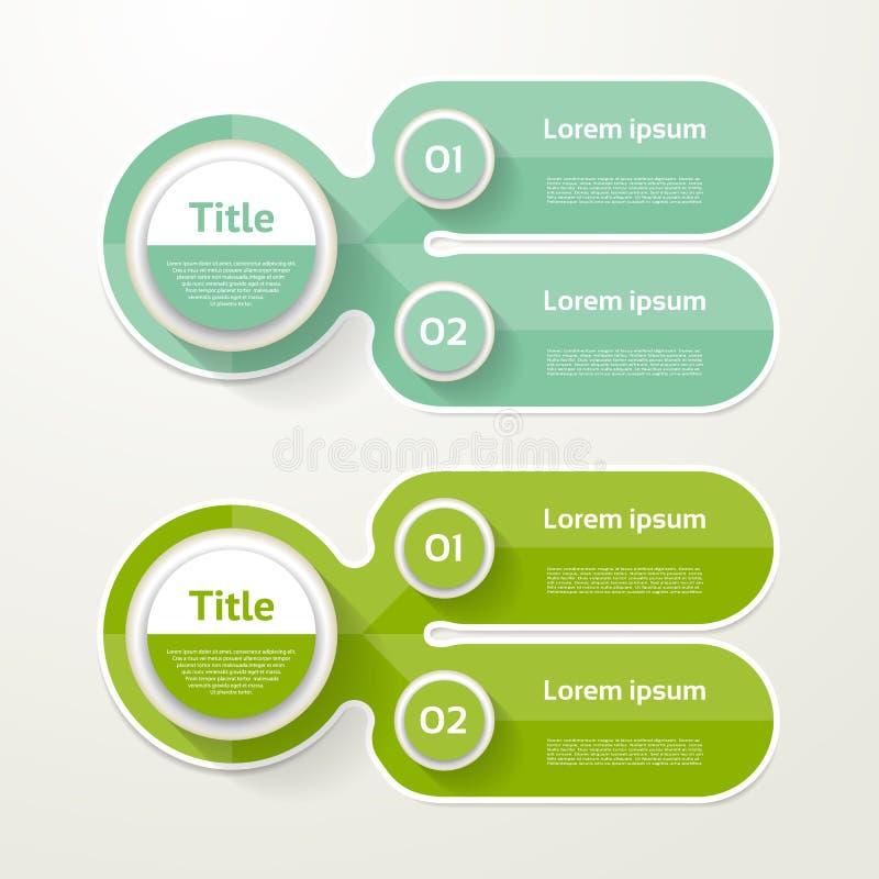Fahne mit zwei Elementen 2 Schritte entwerfen, entwerfen, infographic, Schritt vorbei lizenzfreie abbildung
