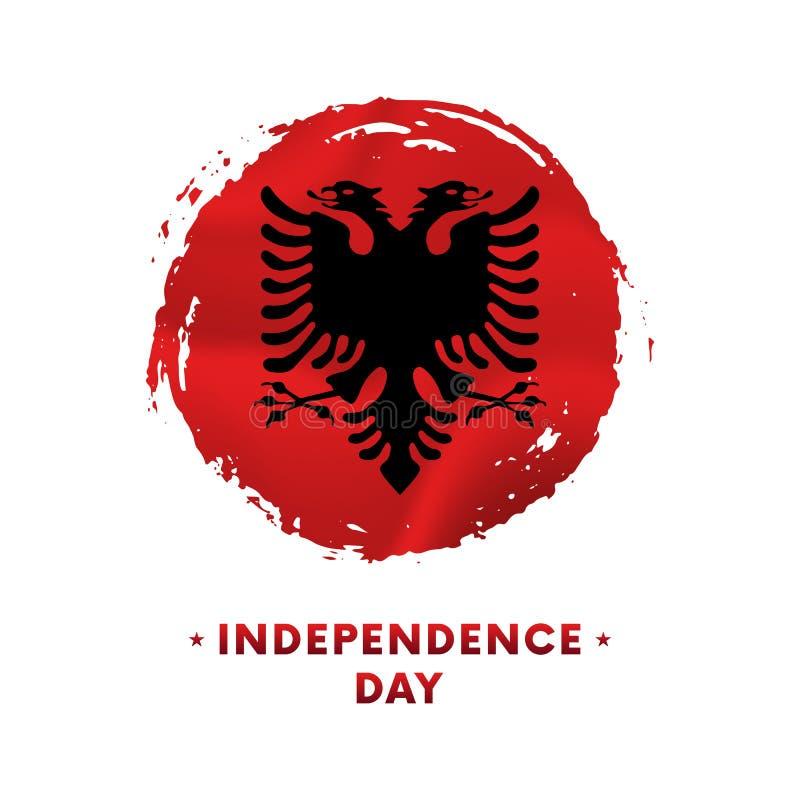 Fahne oder Plakat der Albanien-Unabhängigkeitstagfeier Wellenartig bewegende Flagge von Albanien, Bürstenanschlaghintergrund Auch stock abbildung