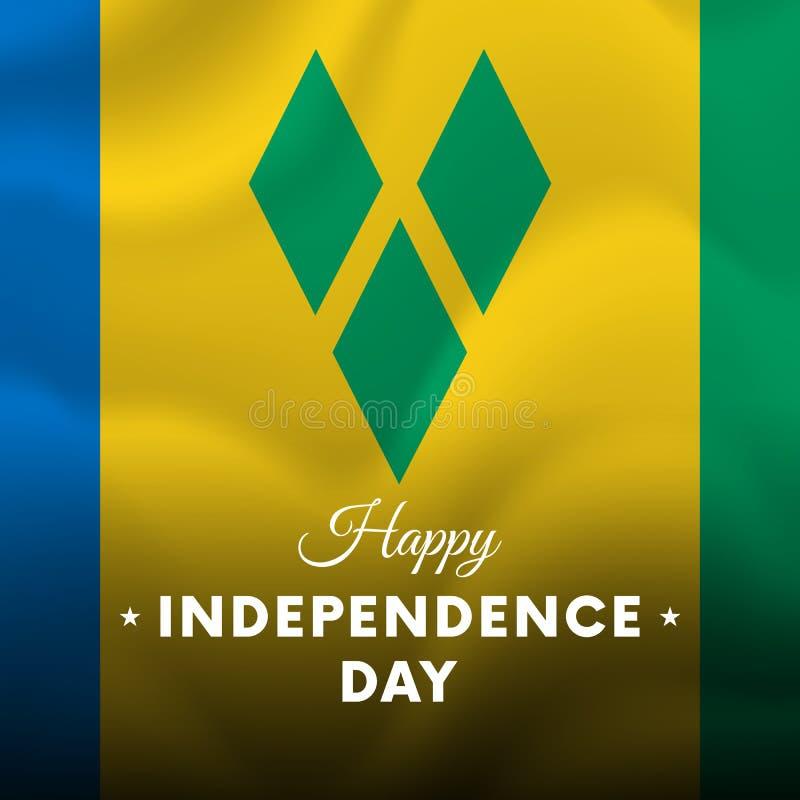 Fahne oder Plakat der St. Vincent und die Grenadinen Unabhängigkeitstagfeier Wellenartig bewegende Markierungsfahne Auch im corel lizenzfreie abbildung