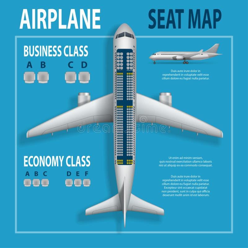 Fahne, Plakat, Flieger mit Flugzeug setzt Plan Geschäft und Flugzeuginformationen Draufsicht der Touristenklassen zeichnen auf lizenzfreie abbildung