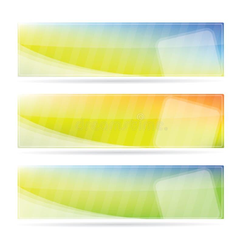 Fahne stellte mit Frühlingsfarben ein stock abbildung