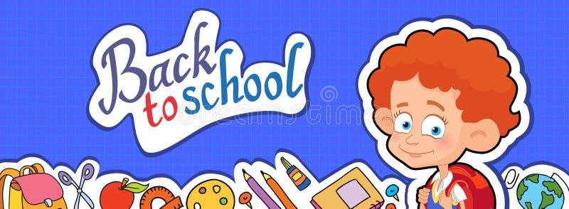 Fahne zurück zu Schuljungen-Schülerbeschriftungs-Logovektor stock abbildung