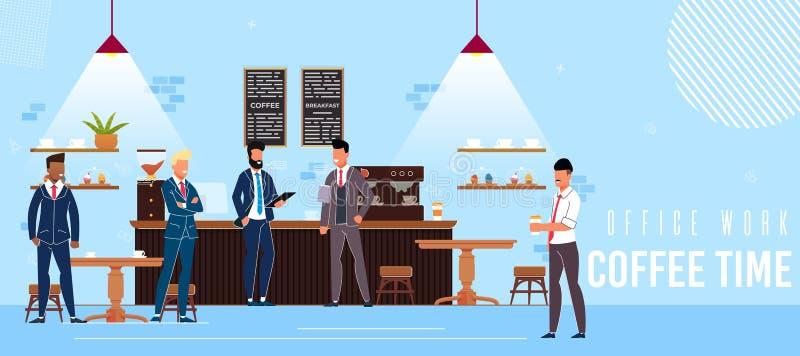 Fahnen-Aufschrift-Büro-Arbeits-Kaffee-Zeit-Ebene stock abbildung