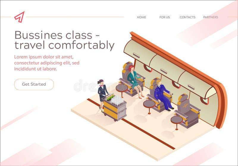 Fahnen-Aufschrift-Business-Class-Fliege bequem stock abbildung