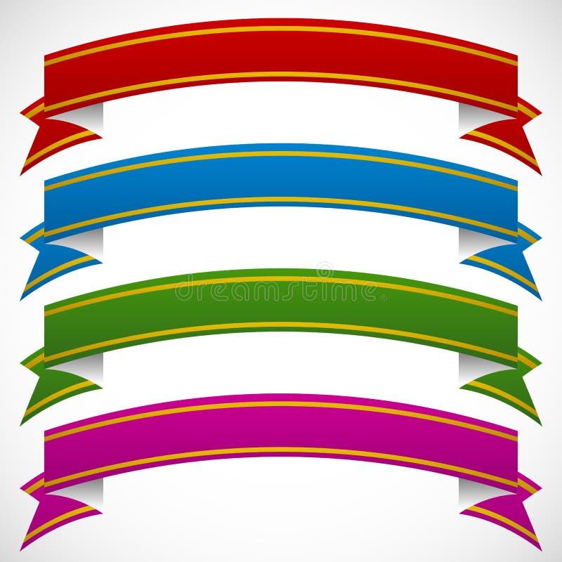Fahnen 3d in 4 tiefen Farben auf weißem Hintergrund vektor abbildung