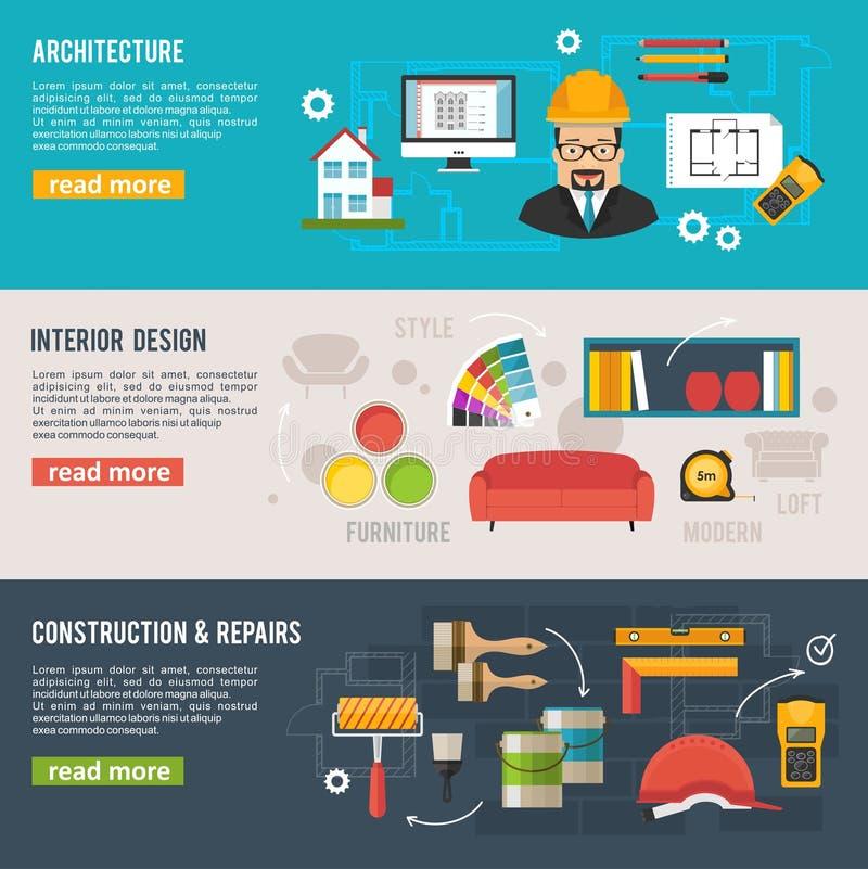 Fahnen der Architektur und des Innenarchitekturkonzeptes mit architectu lizenzfreie abbildung
