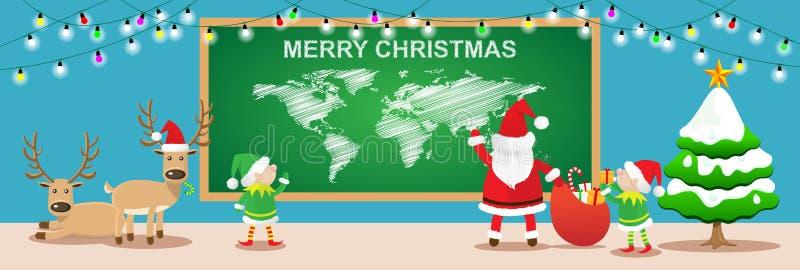 Fahnen der frohen Weihnachten Weihnachtsmann- und elfsarbeit im Weihnachtsraum lizenzfreie abbildung