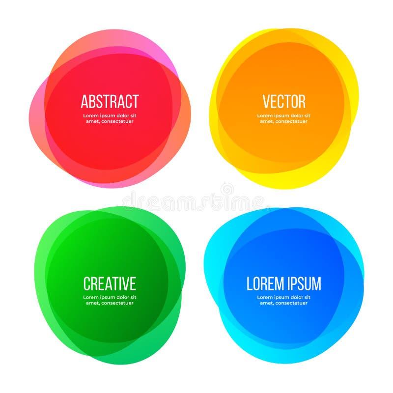 Fahnen der runden Form, abstrakte Farbgrafikdesignelemente Vektoraquarellbürstensteigungs-Farbrahmen lizenzfreie stockfotografie