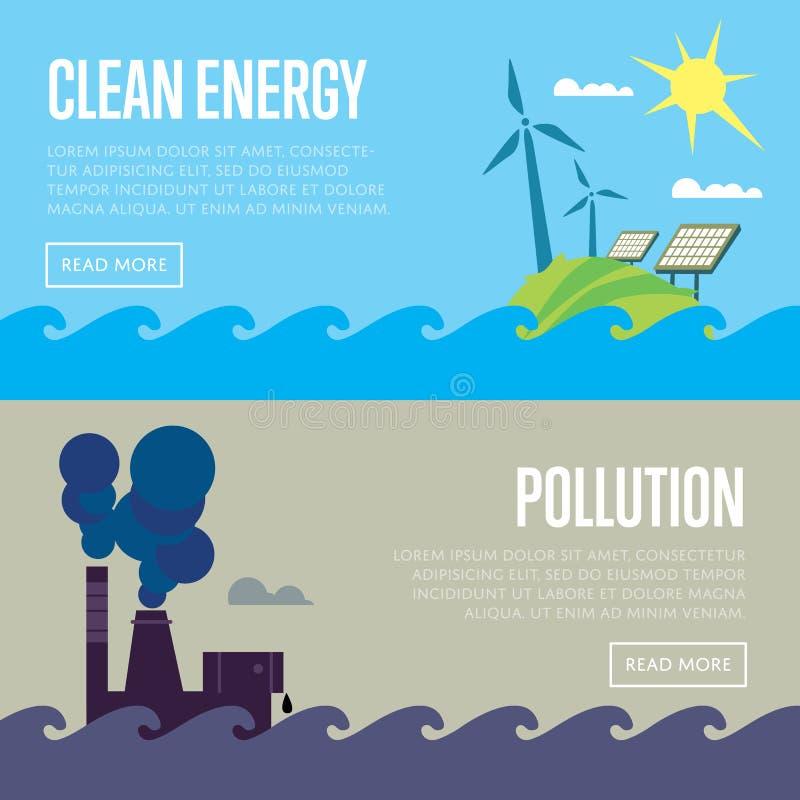 Fahnen der sauberen Energie und der Luftverschmutzung vektor abbildung