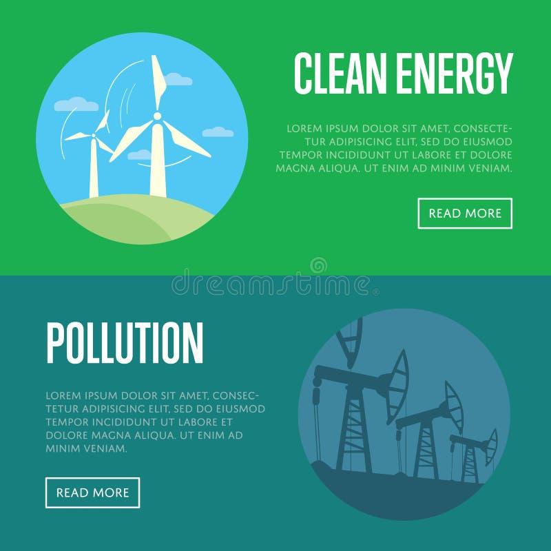 Fahnen der sauberen Energie und der Verschmutzung lizenzfreie abbildung