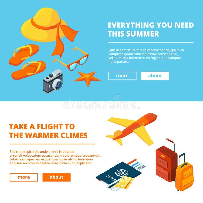 Fahnen der Sommerzeit Isometrische Illustrationen des Sommerreisens stock abbildung