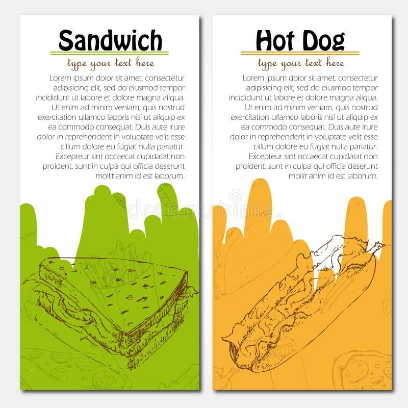 Fahnen des Schnellimbisses entwerfen mit Hotdog und lizenzfreie abbildung