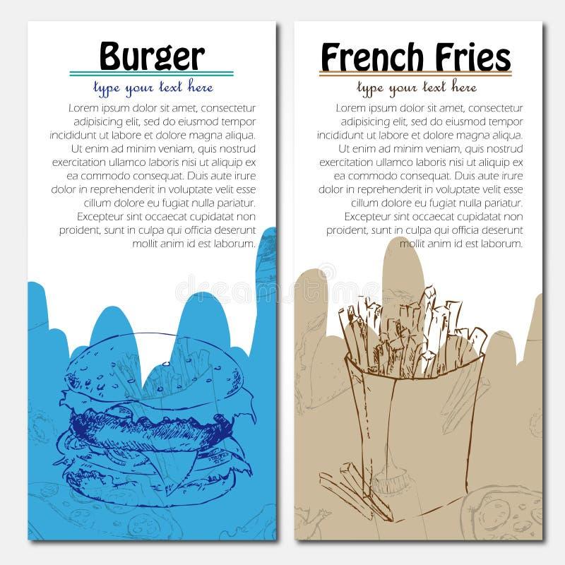 Fahnen des Schnellimbisses entwerfen mit Pommes-Frites und stock abbildung