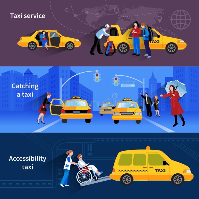 Fahnen eingestellt vom Taxi-Service lizenzfreie abbildung