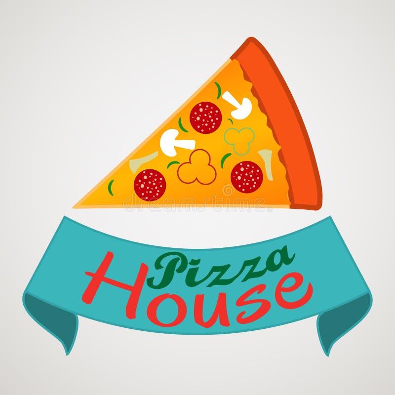 Fahnen, Emblem für Schnellimbiß restauran Logo mit Pizzascheiben und Aufschriften - Pizza-Haus vektor abbildung