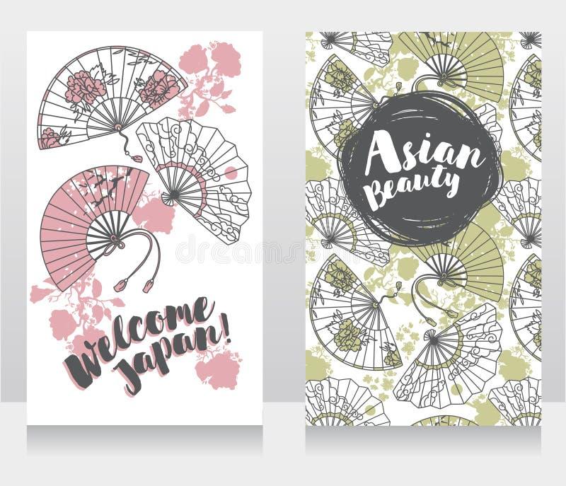 Fahnen für asiatische Schönheit und Reisen mit der traditionellen asiatischen Hand tapezieren Fans lizenzfreie abbildung