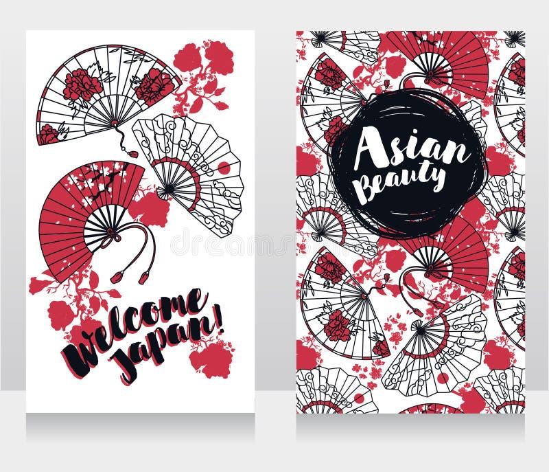 Fahnen für asiatische Schönheit und Reisen mit der traditionellen asiatischen Hand tapezieren Fans stock abbildung