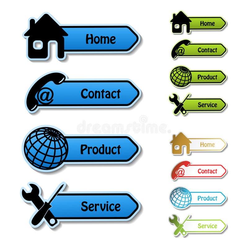 Fahnen - Haupt, Kontakt, Produkt, Service stock abbildung