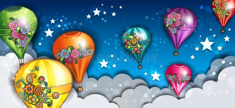 Fahnen-Heißluft-Ballone stockfotos