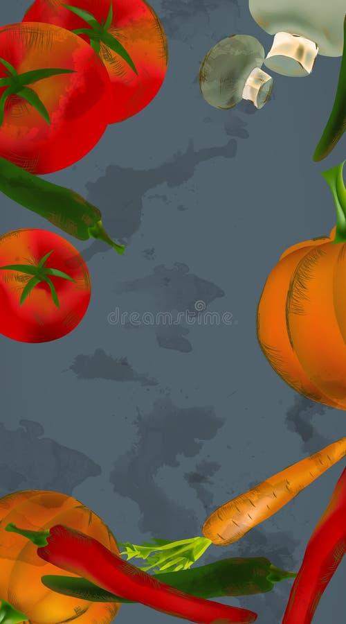 Fahnen-Hintergrund mit Gemüse und Früchten vektor abbildung