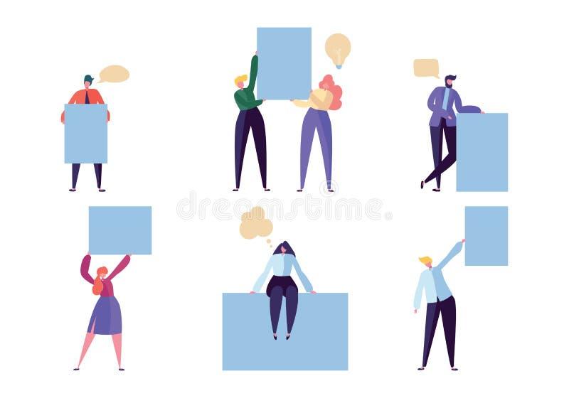 Fahnen-Karten-Satz des Geschäfts-Charakter-Griff-freien Raumes Glückliche kreative Mann-Show-leere Anschlagtafel-Mitteilung Gesch stock abbildung