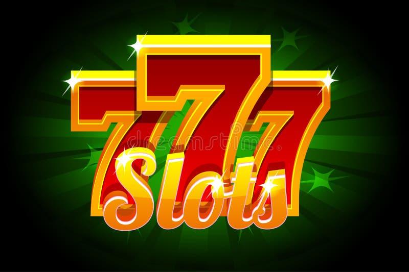 Fahnen-Kasino der Schlitz-777 auf grünem Hintergrund Vektorillustration für Kasino, Schlitze, Roulette und UI Ikonen und Text an stock abbildung