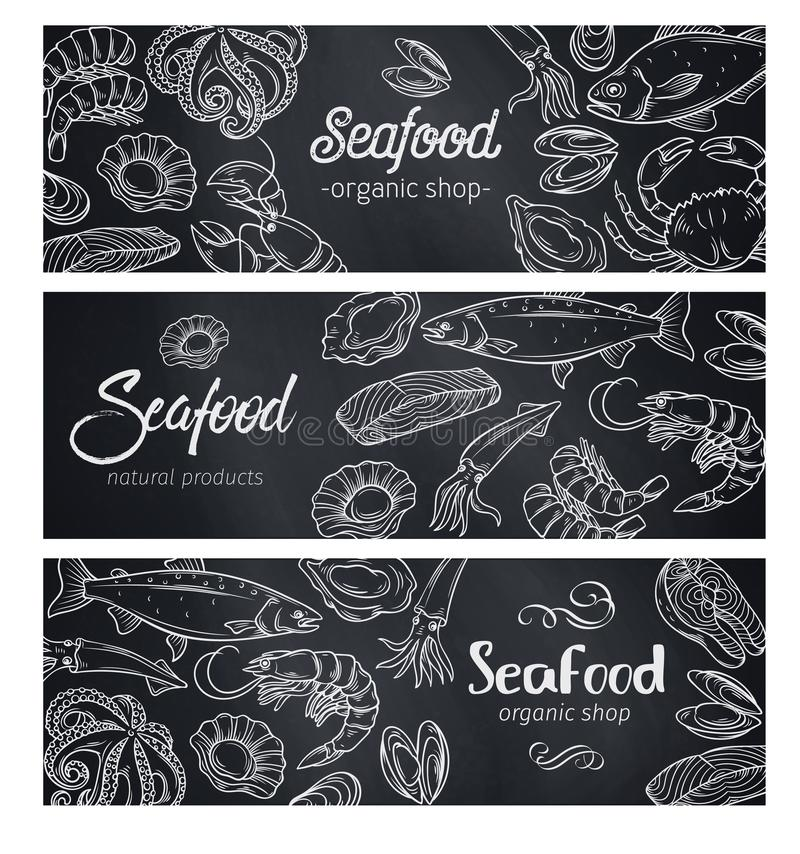 Fahnen Meeresfrüchte, Tafel vektor abbildung