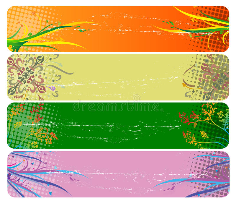 Fahnen mit Blumen vektor abbildung