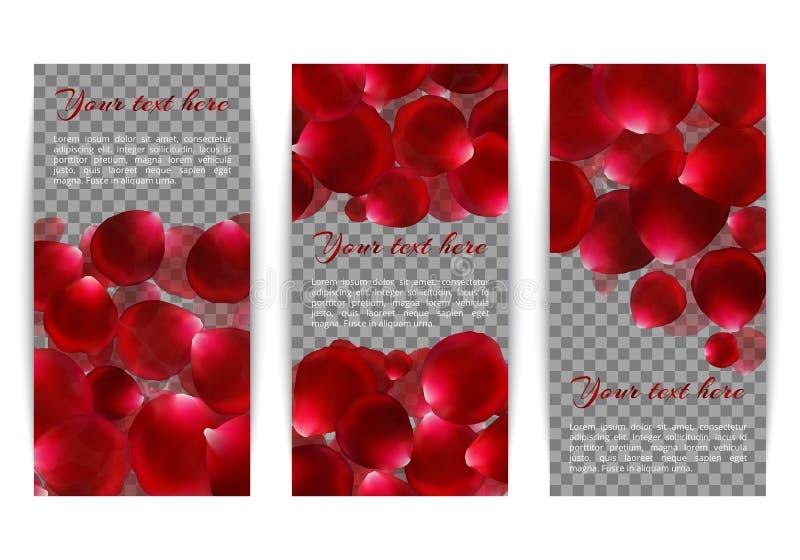 Fahnen mit den rosafarbenen Blumenblättern vektor abbildung