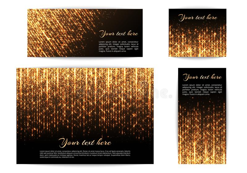 Fahnen mit glänzenden Lichtern stock abbildung