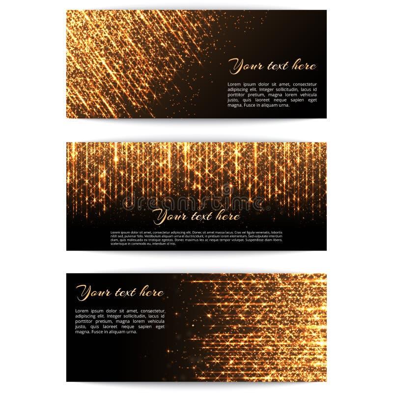 Fahnen mit goldenen Lichtern stock abbildung