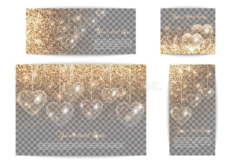 Fahnen mit Herzen von verschiedenen Größen auf einem transparenten backgrou vektor abbildung
