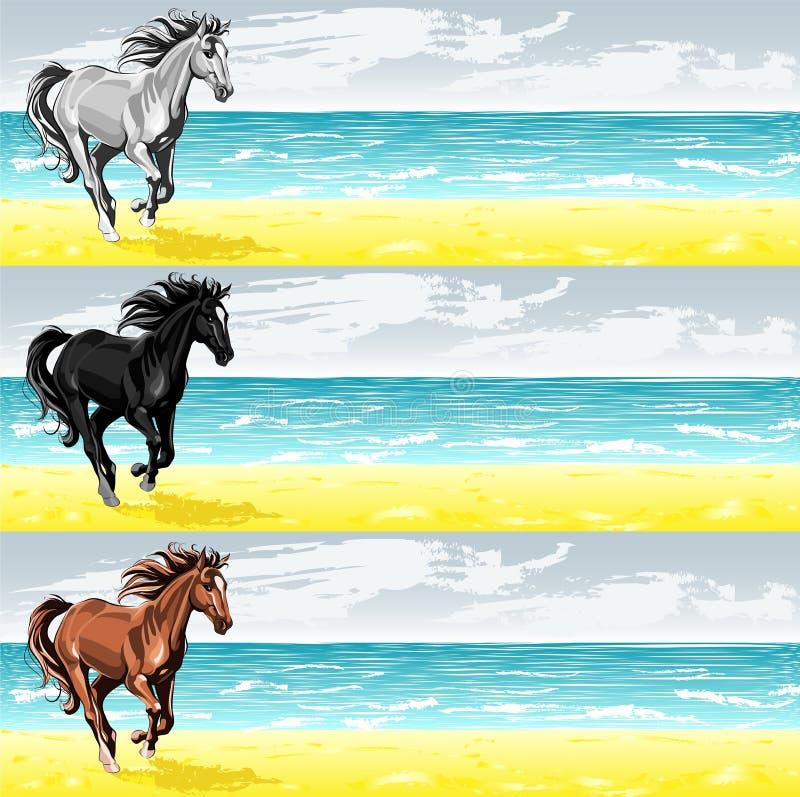 Fahnen mit laufendem Pferd lizenzfreie stockfotos