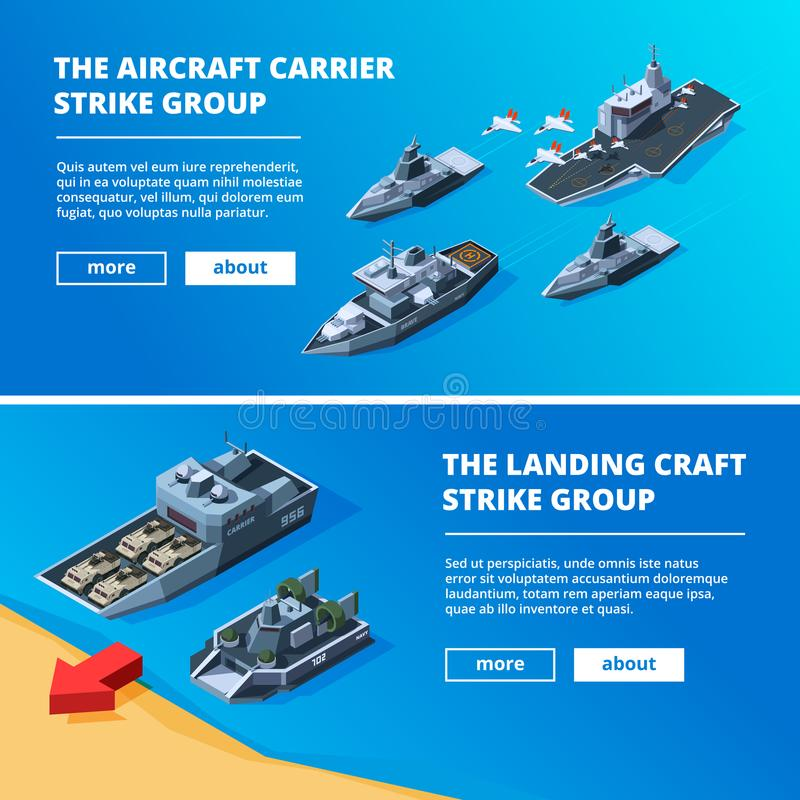 Fahnen mit Militärbooten Vektorbilder von Kriegsschiffen lizenzfreie abbildung